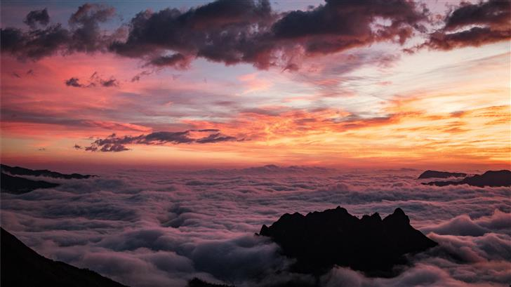 aerial photography of sea of clouds during golden  Mac Wallpaper