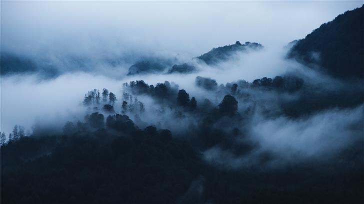 mountain covered with fogs Mac Wallpaper