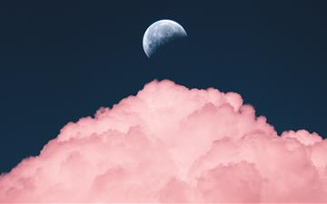 aesthetic purple color of moon iMac wallpaper
