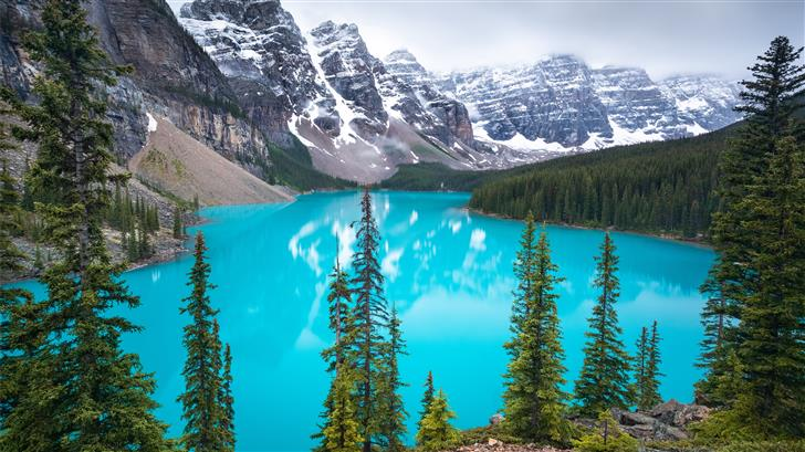 The world famous glacial blue water and 10 peaks o Mac Wallpaper