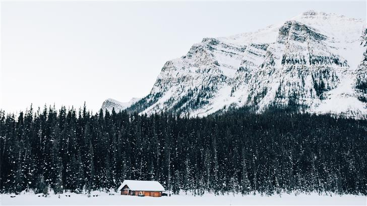 snow covered cabin near forest Mac Wallpaper