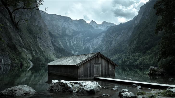brown wooden cabin on body of water Mac Wallpaper