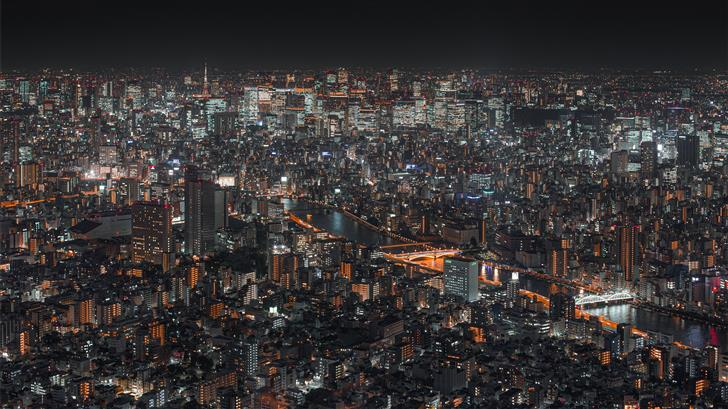 top view of lighted cityscape at night Mac Wallpaper