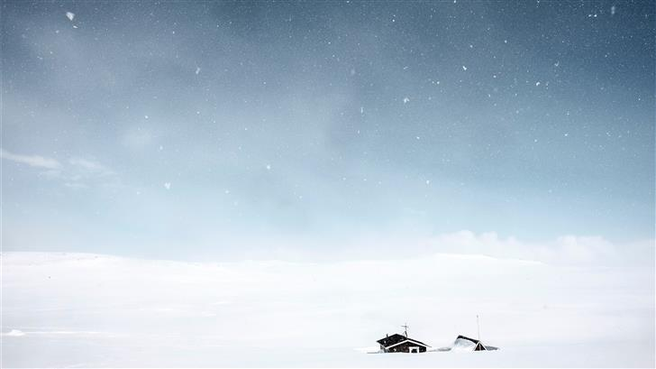 snow covered house Mac Wallpaper