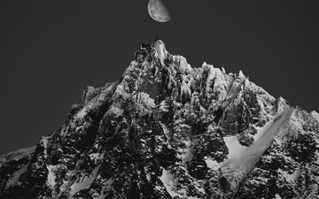 grayscale photo of mountain range All Mac wallpaper