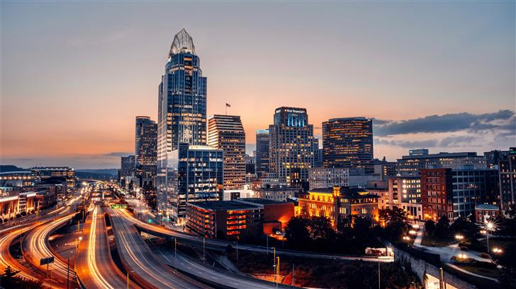 time lapse photography of city during night time Mac Wallpaper