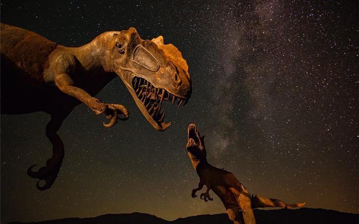 two T Rex dinosaurs illustration Mac Wallpaper