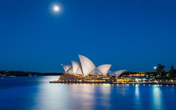 Sydney Opera House Australia during nighttime MacBook Air wallpaper