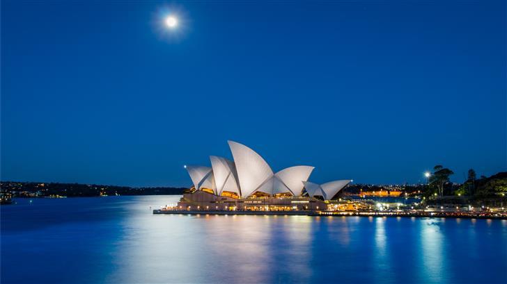 Sydney Opera House Australia during nighttime Mac Wallpaper