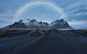 rainbow over snow covered mountain 8k All Mac wallpaper