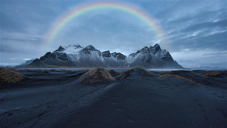 rainbow over snow covered mountain 8k Mac Wallpaper