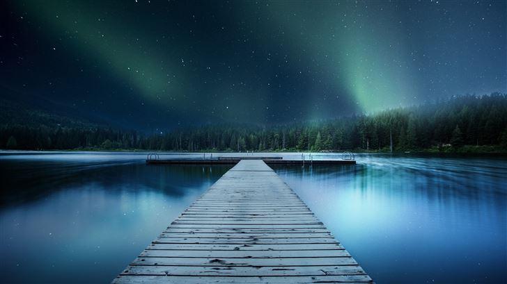 landscape jetty lake night sky 8k Mac Wallpaper