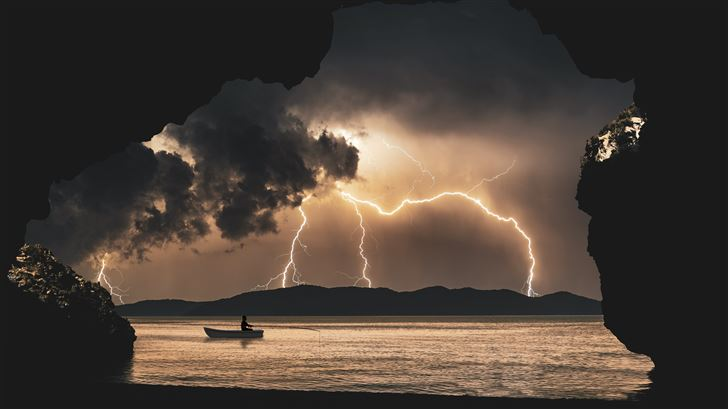 landscape storm rays sea clouds cave fantasy 8k Mac Wallpaper