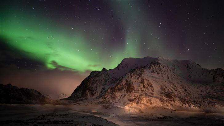 northern lights lofoten norway 5k Mac Wallpaper