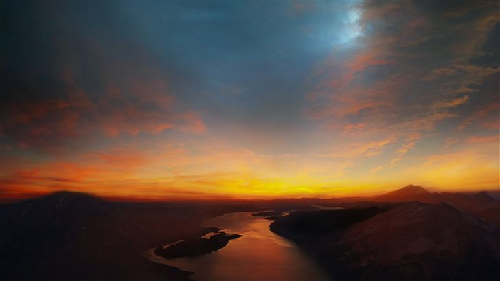 sky river landscape mountains 8k Mac Wallpaper