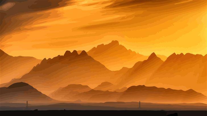 minimal landscape mountains 5k Mac Wallpaper