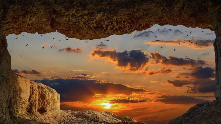 cave rock sunset 8k Mac Wallpaper