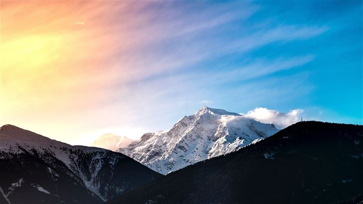 snow covered mountain 5k Mac Wallpaper
