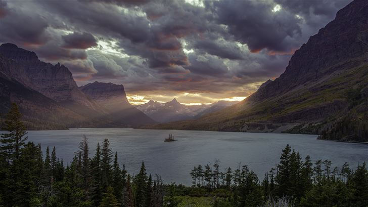 sunset at st mary lake glacier national park 5k Mac Wallpaper