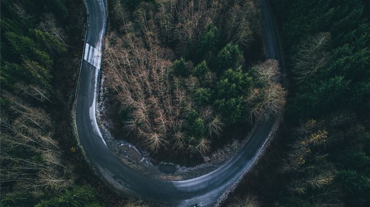 aerial photography of curved road Mac Wallpaper