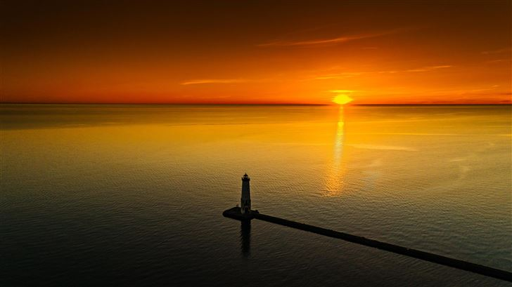 sunset pier side 5k Mac Wallpaper