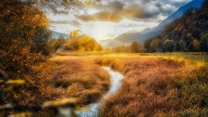 mountains rivers fields autumn clouds 5k Mac Wallpaper
