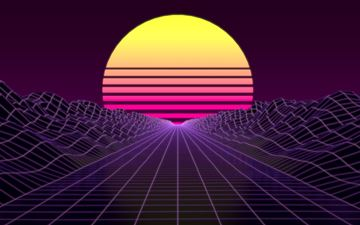 synthwave 8k iMac wallpaper