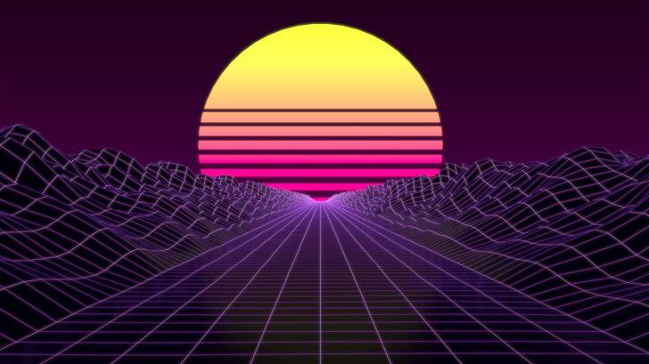 synthwave 8k Mac Wallpaper