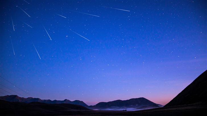 stars mountains under blue sky 5k Mac Wallpaper