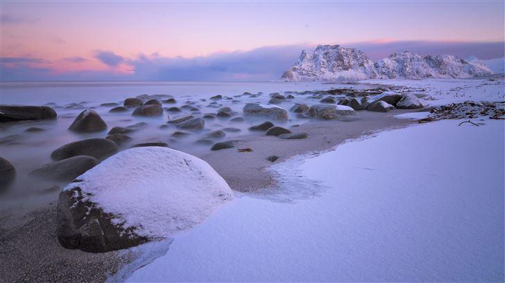 soft snow on uttakleiv beach 5k Mac Wallpaper