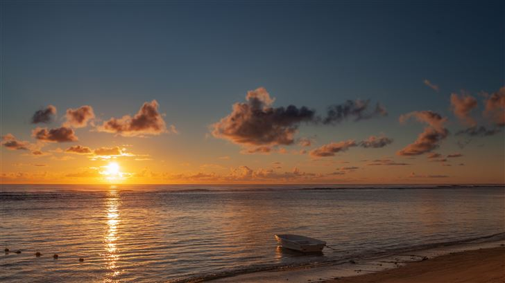 boat sea beach sunset 5k Mac Wallpaper
