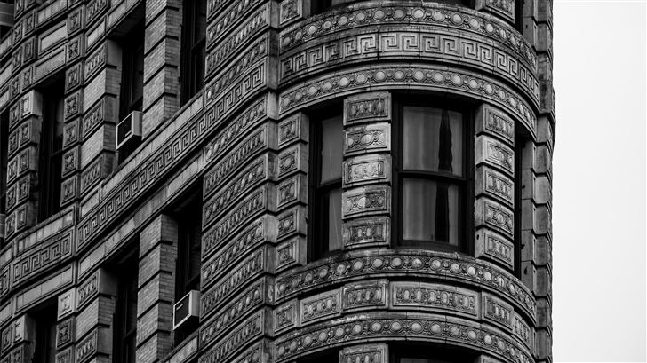 grayscale photo of building Mac Wallpaper