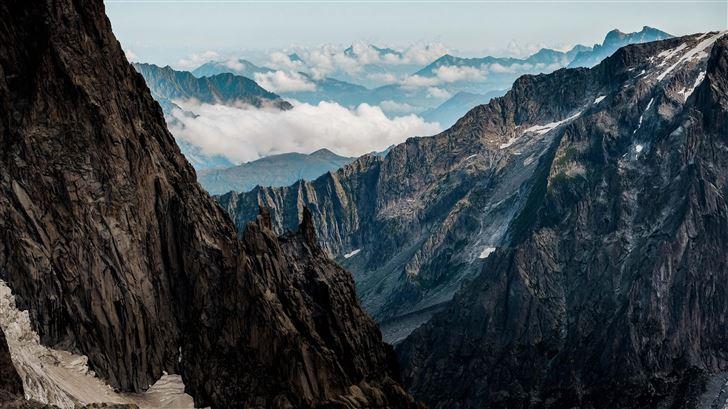 mountains under white sky 5k Mac Wallpaper