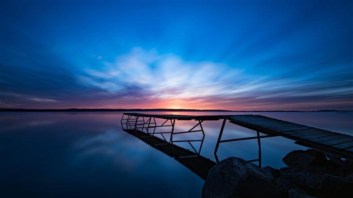 sunrise along deck Mac Wallpaper