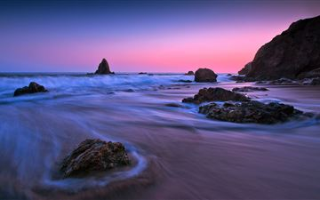 earth ocean rock sunset long exposure 5k MacBook Air wallpaper