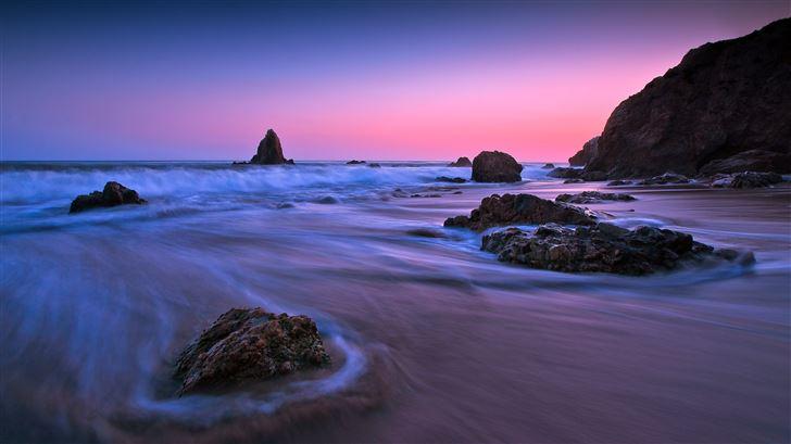 earth ocean rock sunset long exposure 5k Mac Wallpaper
