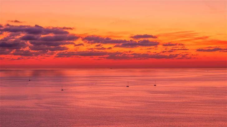 sunset evening lake 5k Mac Wallpaper