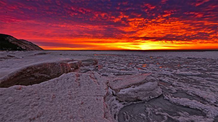 ice glow red sky 5k Mac Wallpaper