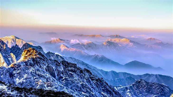 morning blue mountains 5k Mac Wallpaper