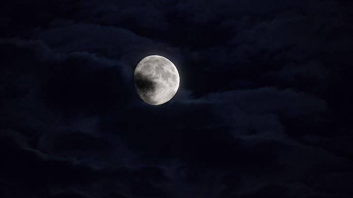 moon behind clouds 5k Mac Wallpaper
