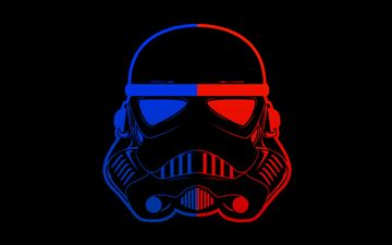 stormtrooper blue red mask minimal 8k MacBook Air wallpaper