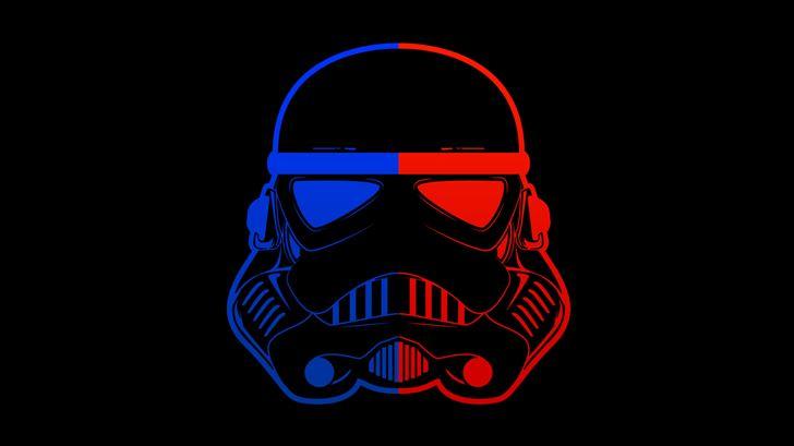 stormtrooper blue red mask minimal 8k Mac Wallpaper