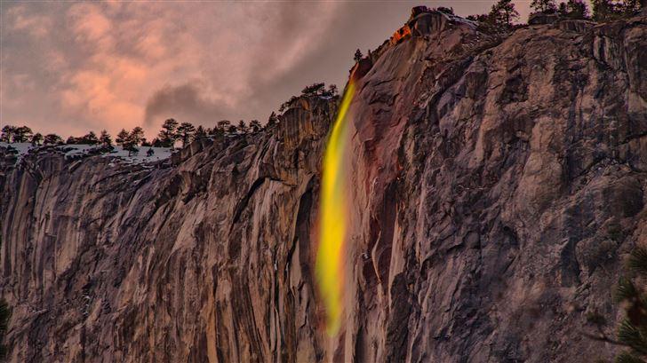 waterfalls under white sky 5k Mac Wallpaper