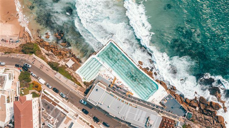 pool nearby seashore Mac Wallpaper