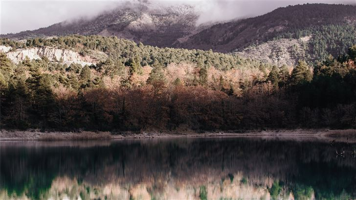 reflection photography of mountain covered with gr Mac Wallpaper