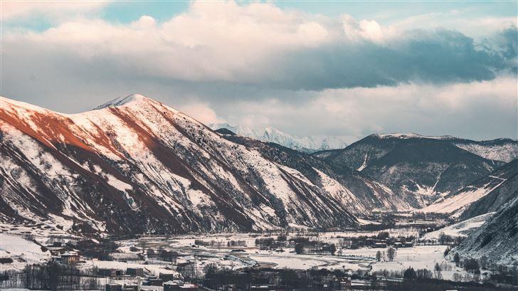brown white mountains sky 5k Mac Wallpaper