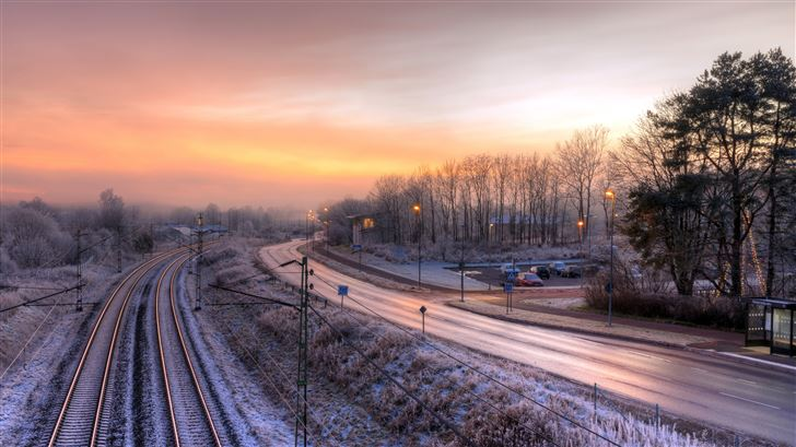winter snow roads 5k Mac Wallpaper