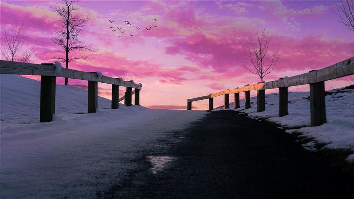 aesthetics pink pink sky 5k Mac Wallpaper