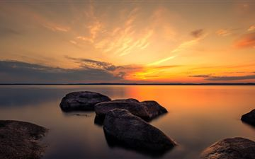 summer dusk rocks 5k iMac wallpaper