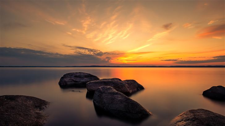 summer dusk rocks 5k Mac Wallpaper